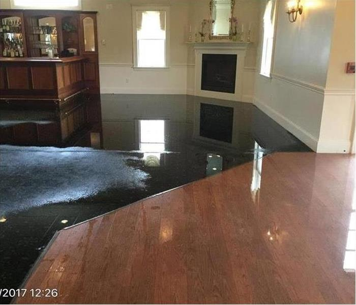 Water damage in a living room