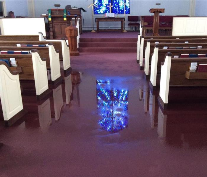Commercial Church Underwater After Bomb Cyclone Storm